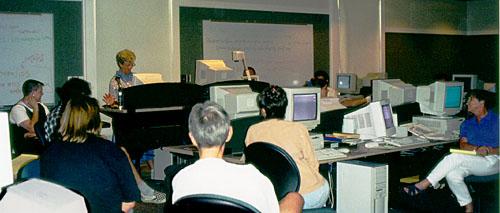 workshop participants in lab