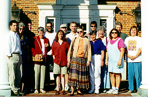 workshop participants in front of building